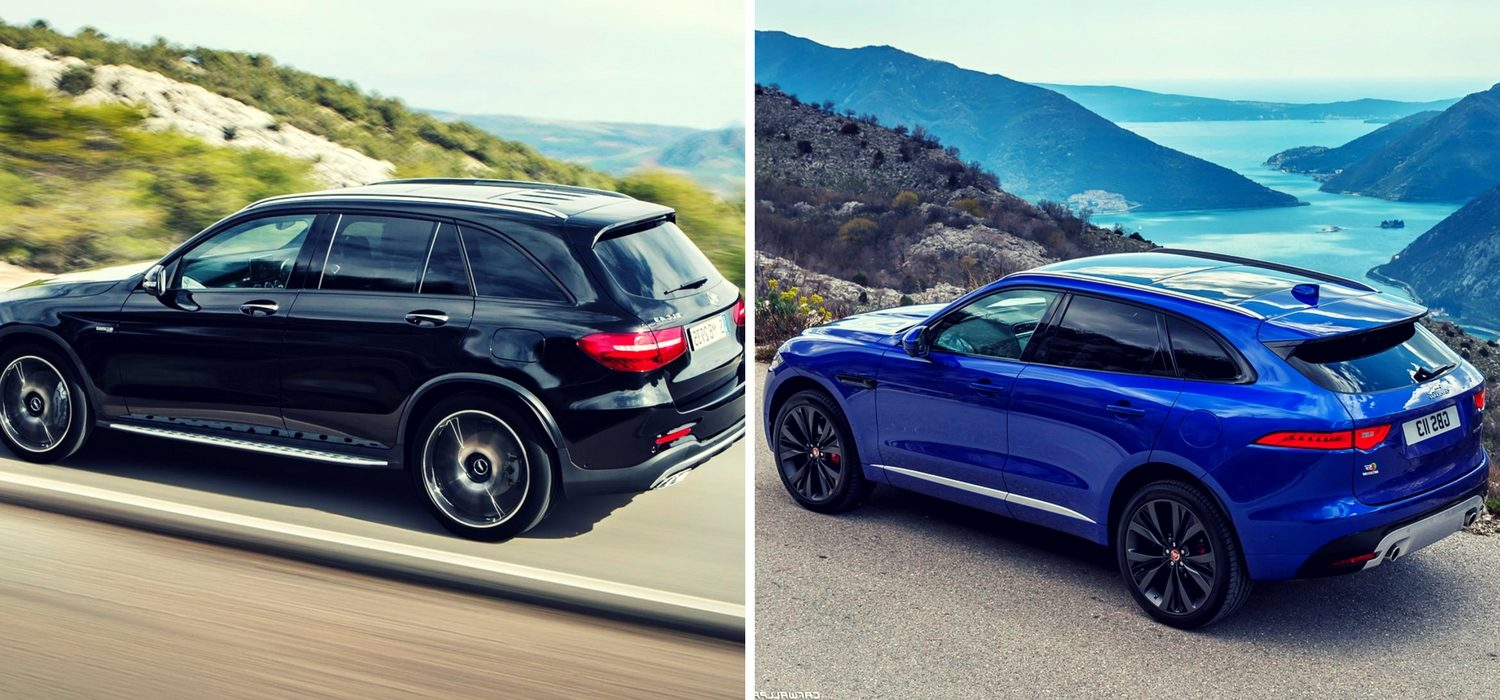 Mercedes benz glc43 amg vs jaguar f pace s red plum for Mercedes benz glc43 amg